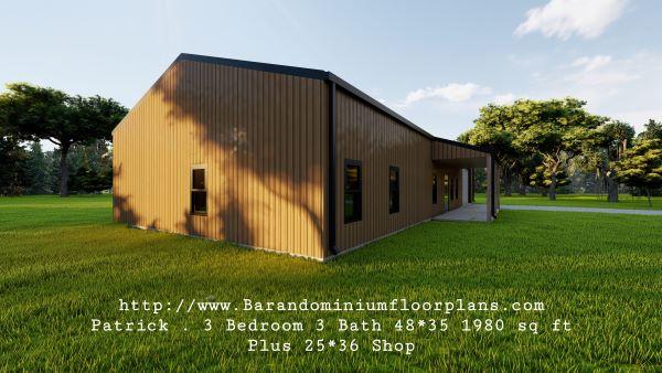 patrick barndominium 3d render with laundryroom plus shop