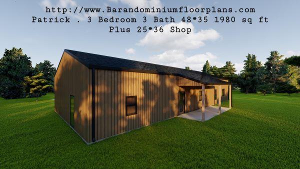 patrick barndominium 3d render leftview