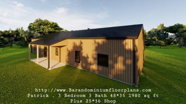 patrick barndominium 3d render rightview