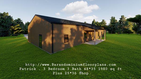 patrick barndominium 3d render with laundryman
