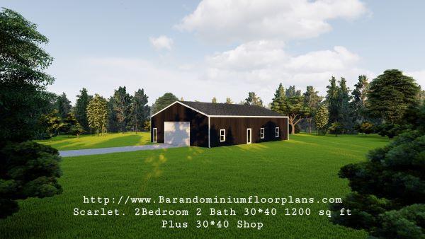 scarlett barndominium 3d render 1200 sq. ft Floor Plan