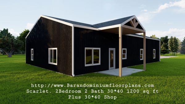 scarlett barndominium 3d render 1200 sq. ft Floor Plan plus shop