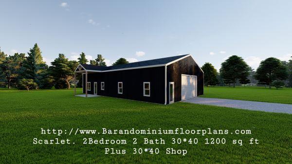 scarlett barndominium 3d render 1200 sq. ft Floor Plan with Master Bedroom plus shop