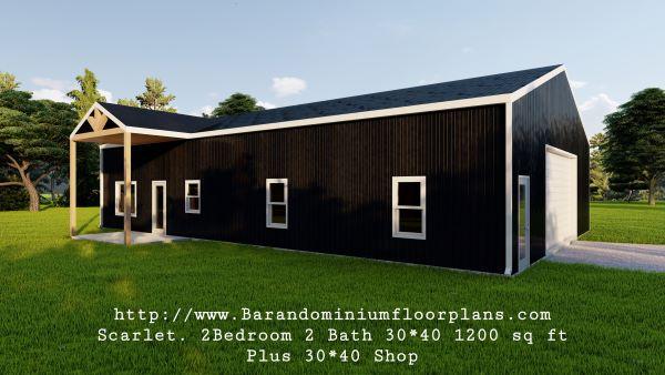 scarlett barndominium 3d render 1200 sq. ft Floor Plan with shop