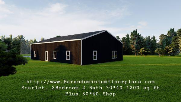 scarlett barndominium 3d render 1200 sq. ft Floor Plan Backview