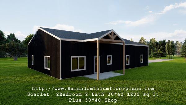 scarlett barndominium 3d render 1200 sq. ft floor plan frontview
