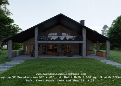 virginia barndominium 3d render exterior with deck