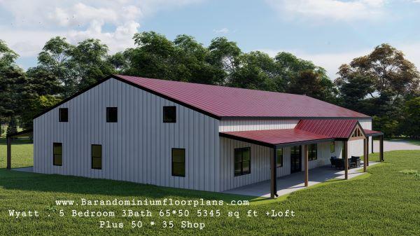 wyatt barndominium 3d render with loft