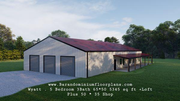 wyatt barndominium 3d render covered porch
