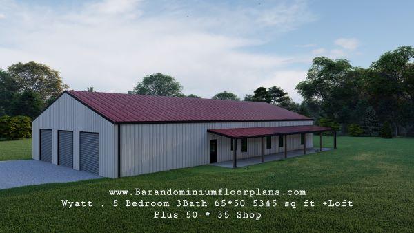wyatt barndominium with covered porch plus shop