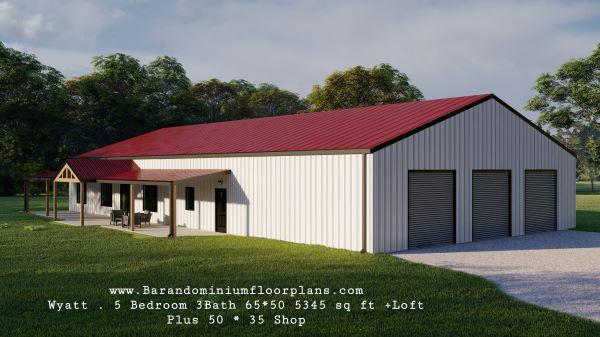 wyatt barndominium 3d render with dream master suite