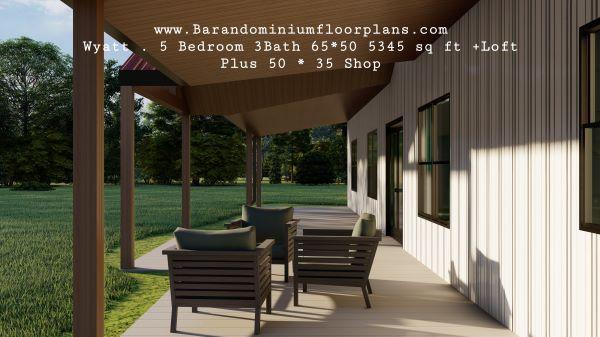 wyatt barndominium 3d render porch