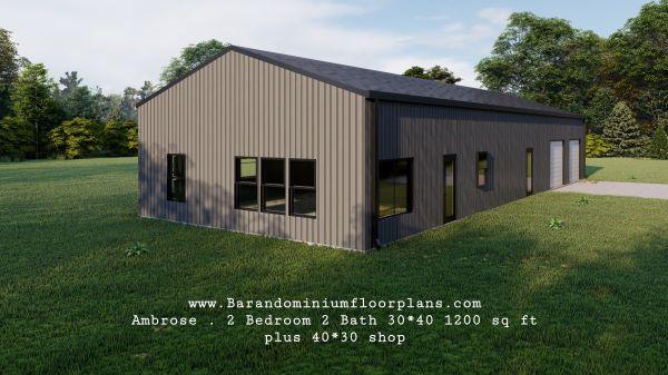 ambrose-barndominium-1200-sq-ft-floor-plan-2bed-2bath-leftview