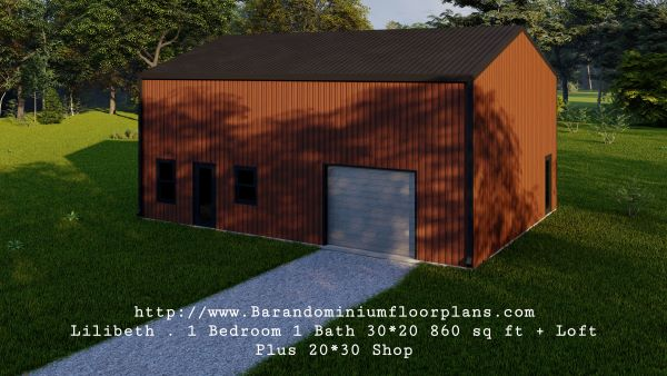 lilibeth barndominium 3d render 600 sq. ft floor plan with loft plus shop