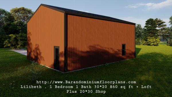 lilibeth barndominium 3d render 600 sq. ft floor plan backview
