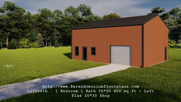 lilibeth barndominium 3d render 600 sq. ft floor plan plus shop