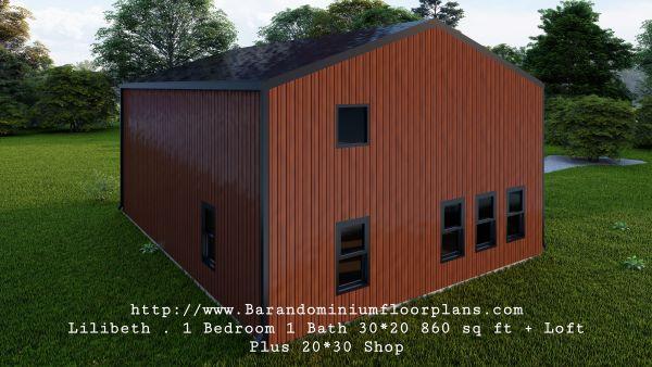 lilibeth barndominium 3d render sideview 600 sq. ft floor plan