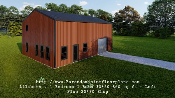 lilibeth barndominium 3d render 600 sq. ft floor plan with 3 piece bath