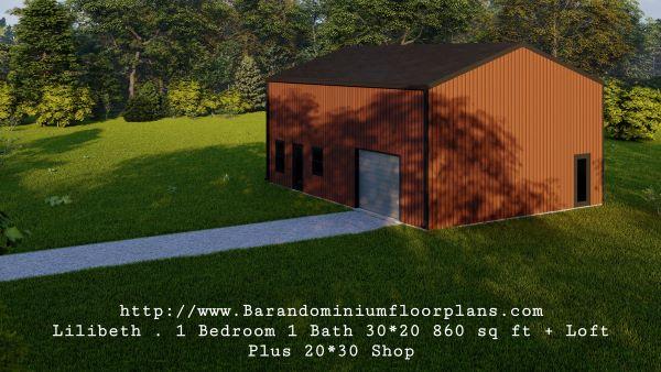 lilibeth barndominium 3d render 600 sq. ft floor plan with loft