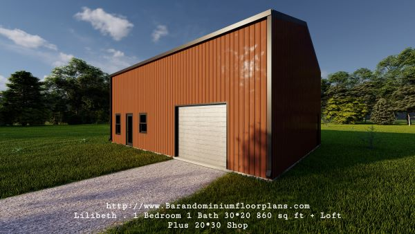 lilibeth barndominium 3d render backview 600 sq. ft floor plan