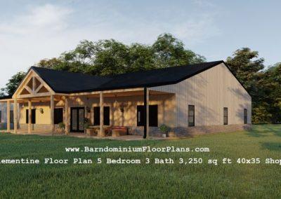 clementine barndominium exterior 3d rendering 3250 sq. ft floor plan