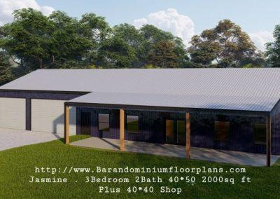 jasmine barndominium 3d rendering 2000 sq, ft floor plan with shop