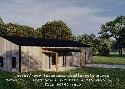 madeline barndominium 3d rendering with shop 2025 sq. ft floor plan