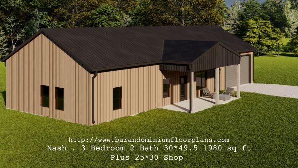 nash barndominium 3d render 1980 sq ft floor plan with porch and shop