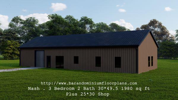 nash barndominium 3d render front view 1980 sq ft floor plan