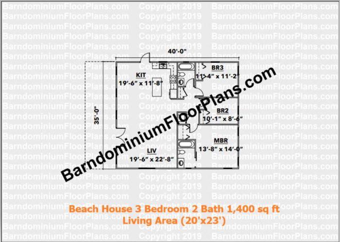beach house 1,400 sq ft floor plan 3 bed 2 bath