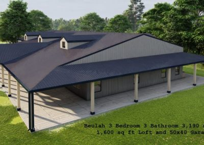 beulah barndominium 3d rendering topview 3190 sq. ft floor plan