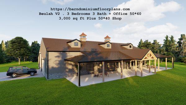 beulah version2 barndominium 3d rendering topview