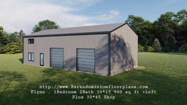 flynn barndominium 900 sq. ft floor plan 3d rendering with loft plus shop