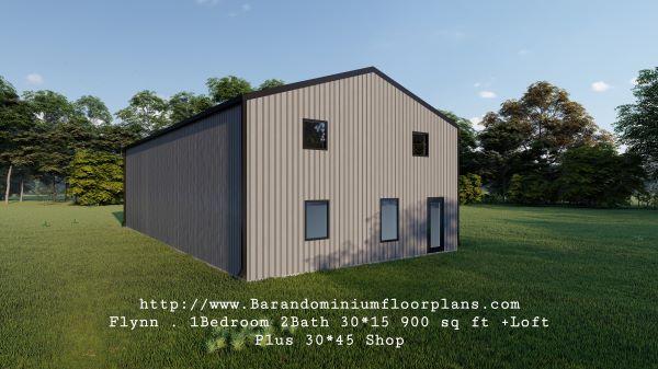 flynn barndominium 900 sq. ft floor plan 3d rendering with loft
