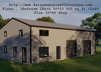 flynn barndominium 900 sq. ft floor plan 3d rendering plus loft with shop