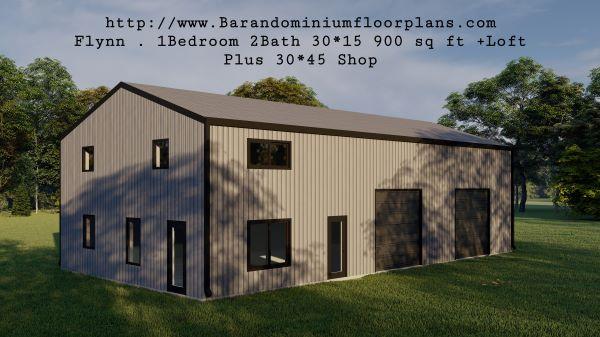 flynn barndominium 900 sq. ft floor plan 3d rendering leftview