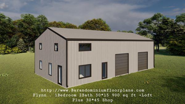 flynn barndominium 900 sq. ft floor plan 3d rendering leftview with shop