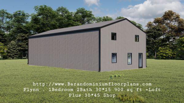 flynn barndominium 900 sq. ft floor plan 3d rendering plus loft