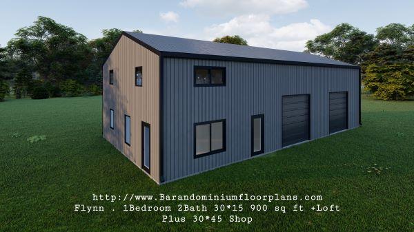 flynn barndominium 900 sq. ft floor plan 3d rendering with shop