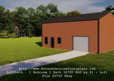 lilibeth barndominium 3d rendering 860 sq.ft floor plan plus shop