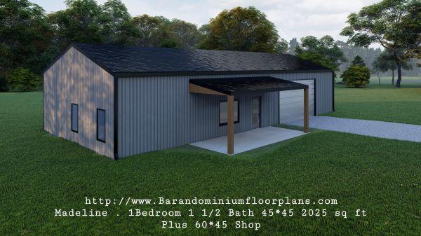 madeline barndominium 3d rendering left sideview with shop 2025 sq. ft floor plan