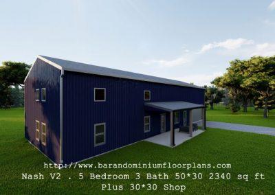 nash version2 barndominium 3D rendering plus shop