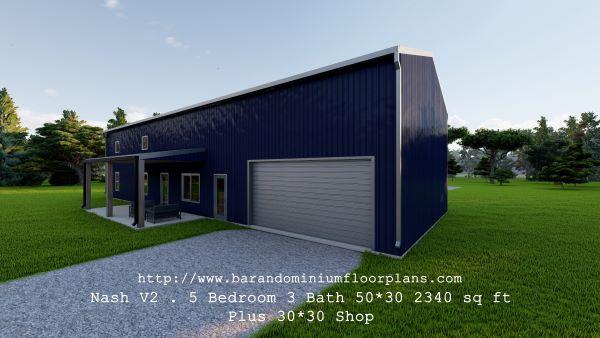 nash version2 barndominium 3D rendering with shop