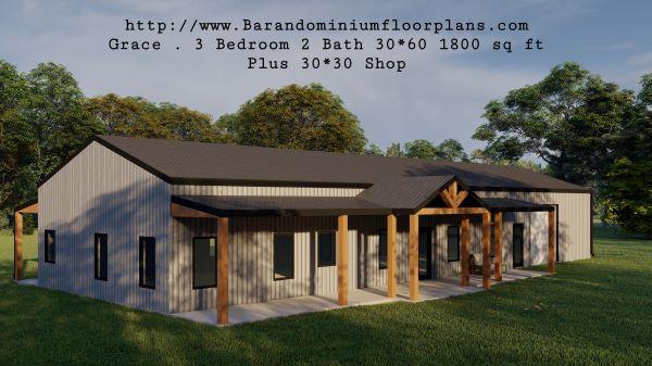 grace barndominium 3d rendering front porch plus shop 1800 sq ft floor plan