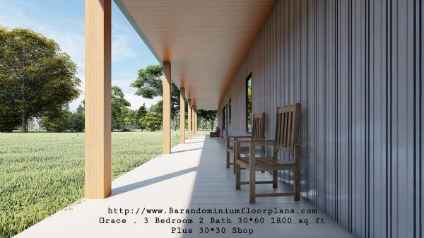 grace barndominium 3d rendering front porch 1800 sq ft floor plan