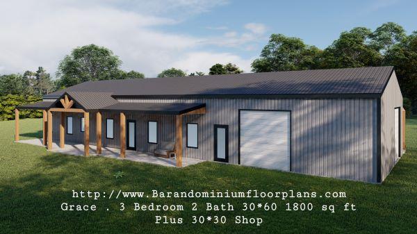 grace barndominium 3d rendering 1800 sq ft floor plan