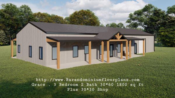 grace barndominium 3d rendering left view 1800 sq ft floor plan