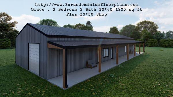 grace barndominium 3d rendering top view 1800 sq ft floor plan