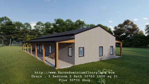 grace barndominium 3d rendering covered porch 1800 sq ft floor plan