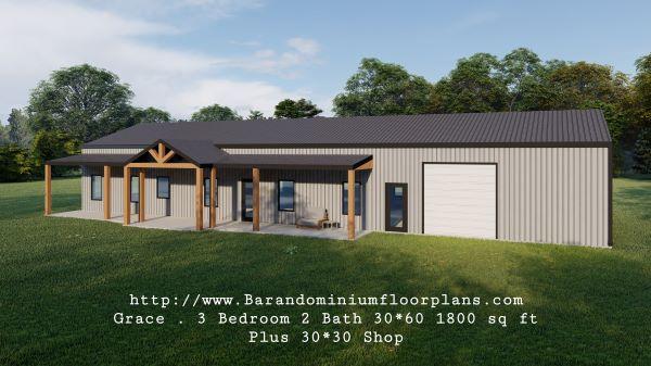 grace barndominium 3d rendering front view 1800 sq ft floor plan